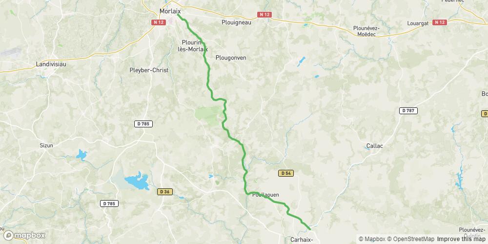 La Vélodyssée, Voie verte de Carhaix vers Morlaix